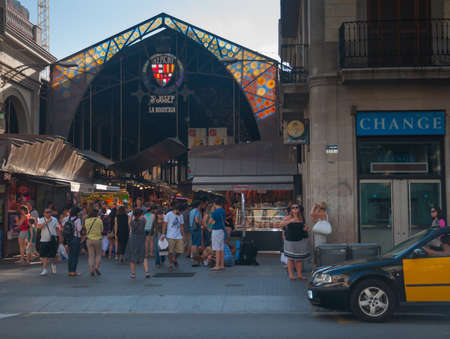 St Josep market, entrance decor in Art Nouveau or Modernista style. Barcelona, Spain on July 31, 2012.