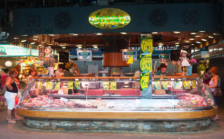josep: Colorful market stalls. St Josep market. Barcelona, Spain on July 31, 2012. Editorial