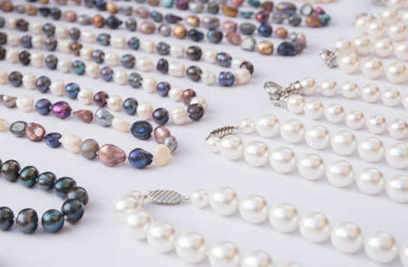 bijoux: Pearl necklaces in different colors, Majorca, Balearic islands, Spain. Editorial
