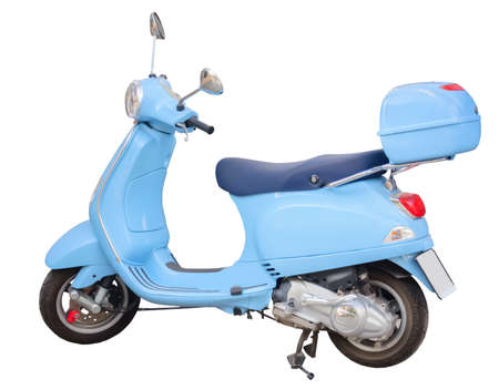 Blue scooter isolated on white photo