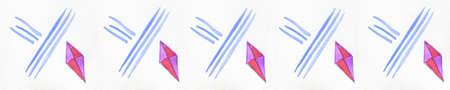 margen: Margen de diamante. Cinco acuarela pintada a mano diamantes de fantas�a en rosa y p�rpura con l�neas azules en una fila en el papel de acuarela con textura. Arte margen de textura de fondo.