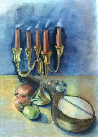 mandolino: Candele e mandolino. Acquerello originale e pittura gouache. Archivio Fotografico