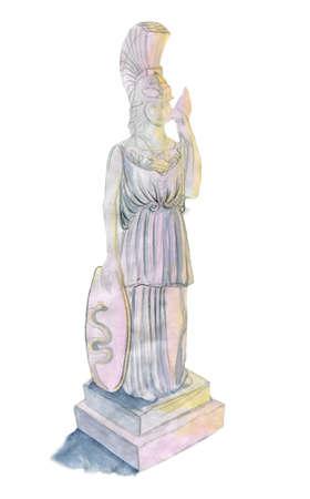 pallas: Pallas Athena, original watercolor sketch. Stock Photo