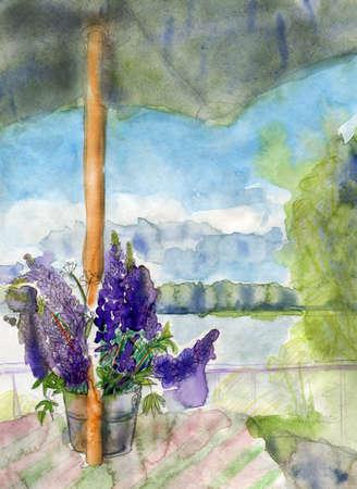 Lupines and umbrella, original watercolor sketch. photo