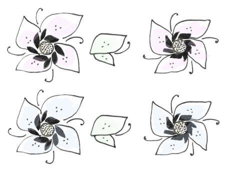margine: Ink flower margin, colorized ink pen drawing, soft blue, green and pink.