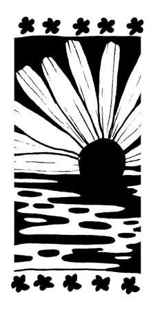 ink sketch: Inchiostro modello Quattro, modello astratto, in bianco e nero schizzo d'inchiostro. Daffodil sorgere del sole sull'acqua.