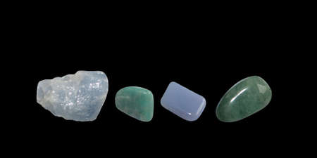 calcite: Green and blue gems, calcite, avventurine and isolated on black