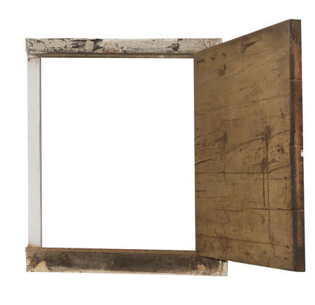 Window frame with old country wooden open hatch, isolated on white. Stock Photo