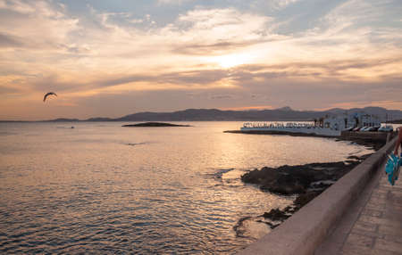 Vista sulla baia di Palma e Puro Beach Cala Estancia, Maiorca al tramonto con uccelli. Mallorca, Isole Baleari, Spagna.