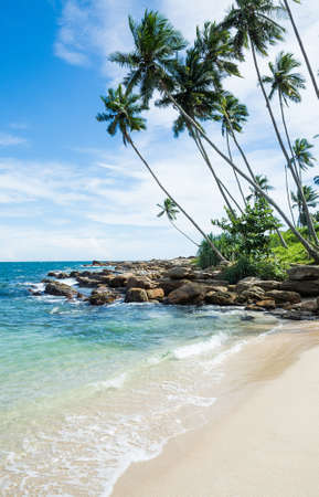 tangalle: Tropical rocky beach with coconut palm trees, sandy beach and ocean. Tangalle, Southern Province, Sri Lanka, Asia.