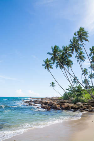 tangalle: Tropical beach with rocks, coconut palm trees, sandy beach and ocean. Rocky Point, Tangalle, Southern Province, Sri Lanka, Asia.
