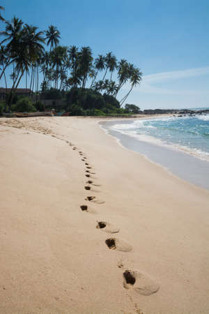 southern sri lanka: Footprints on paradise beach with coconut trees and white sand, Tangalle, Southern Province, Sri Lanka, Asia. Stock Photo