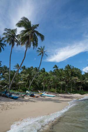 rocky point: Sri Lanka barche da pesca sulla spiaggia di sabbia con palme da cocco. Rocky Point, Tangalle, Southern Province, Sri Lanka, Asia.