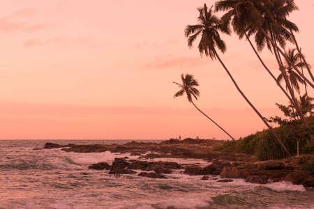 tangalle: Pink sunset Rocky Point. Pink sunset at Rocky Point, Goyambokka, Tangalle, Southern Province, Sri Lanka, Asia.
