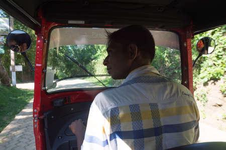 tangalle: Tuk tuk driver, Goyambokka, Tangalle, Southern Province, Sri Lanka, Asia. Editorial