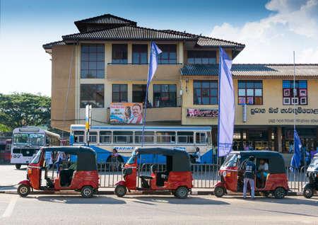 southern sri lanka: TANGALLE, SOUTHERN PROVINCE, SRI LANKA - DECEMBER 15, 2014: Tuk Tuk station Tangalle. Tuk tuk and bus station on December 15 2014 in Tangalle, Southern Province, Sri Lanka, Asia.