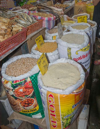 tangalle: TANGALLE, SOUTHERN PROVINCE, SRI LANKA - DECEMBER 15, 2014: Rice, chick peas and other products in a food store on December 15, 2014 in Tangalle, Southern Province, Sri Lanka, Asia.