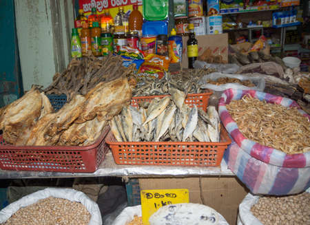 tangalle: TANGALLE, SOUTHERN PROVINCE, SRI LANKA - DECEMBER 15, 2014: Dried fish and seafood in the market on December 15, 2014 in Tangalle, Southern Province, Sri Lanka, Asia. Editorial