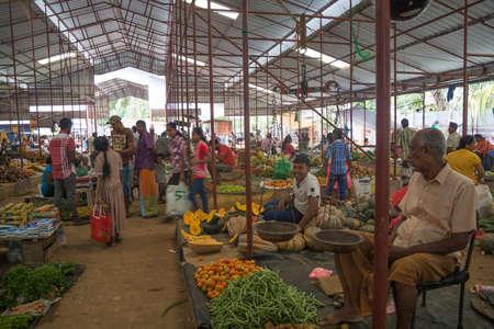 southern sri lanka: TANGALLE, SOUTHERN PROVINCE, SRI LANKA - DECEMBER 17, 2014: Vegetable vendor in the market on December 17, 2014 in Tangalle, Southern Province, Sri Lanka, Asia.