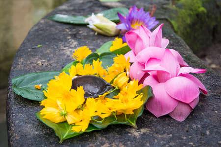 Ceremonial flowers and oil burning arrangement, Sri Lanka, Asia.