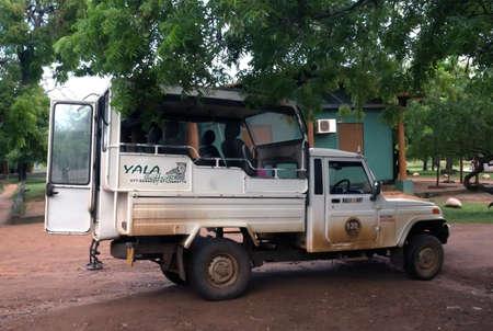 southern sri lanka: Parked safari jeep in Yala National Park, Sri Lanka, Southern Province, Asia,