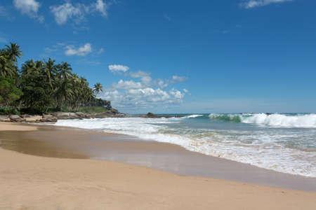 southern sri lanka: Tropical beach. Sandy beach, coconut palms and green waves with seafoam. Southern Province, Sri Lanka, Asia.