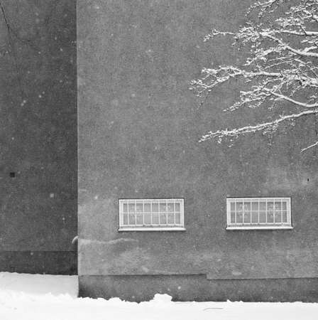 fifties: Buildings in snow in fifties suburb Vallingby, Stockholm, Sweden in January. Stock Photo