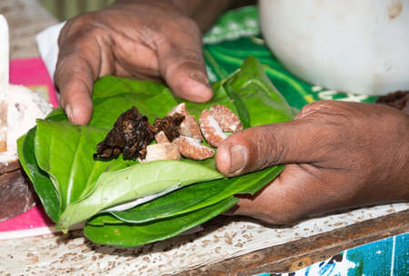 southern sri lanka: Betel leaves. The chew of betel (dahat-vita) is mostly for consumption after meals, and consists of betel leaves, arecanut, and certain other items like cloves, nutmeg, cardamons, etc. which give a pleasant smell and a pungent taste when chewed. Dickwella Editorial