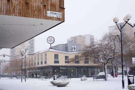 suburbia: Vallingby torg, Vallingby, Stockholm, Sweden in January.