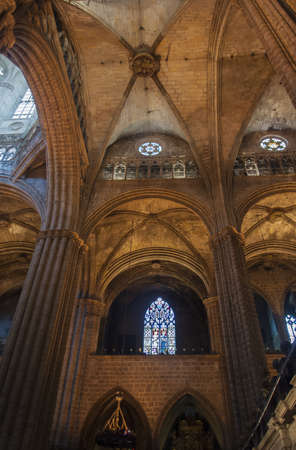 barcelona cathedral: BARCELONA, SPAIN - CIRCA JULY 2012: Fan vault ceiling in arcade, Barcelona Cathedral, Spain. Barcelona Cathedral is situated in the Gothic quarters, not to be confused with Sagrada Familia, in circa July 2012 in Barcelona, Spain. Editorial