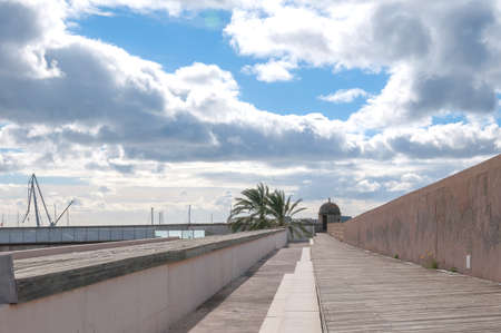 es: PALMA DE MALLORCA, SPAIN - FEBRUARY 8, 2013:  Exterior of the old Sant Pere Bastion, now hosting the museum of contemporary art Es Baluard on February 8 2013 in Palma de Mallorca, Spain.