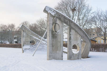 sun dial: VALLINGBY, STOCKHOLM, SWEDEN - JANUARY 18, 2014: Sun Dial sculpture in Solursparken, on January 18, 2014 in Vallingby, Stockholm, Sweden Editorial