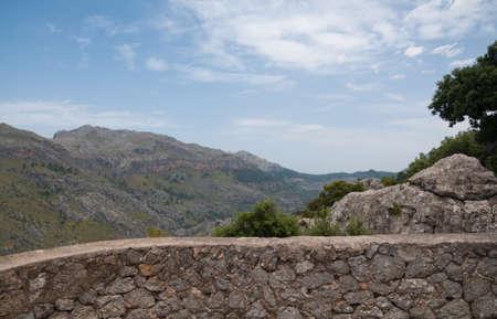drystone: Drystone wall and Tramuntana mountain view Mallorca