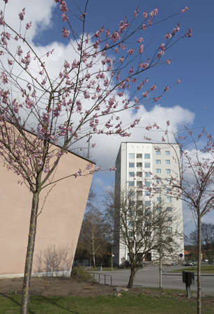 fifties: VALLINGBY, STOCKHOLM, SWEDEN ON APRIL 20, 2014: High rise residential architecture, fifties church building and cherry blossom on April 20, 2014 in Vallingby, Stockholm, Sweden.