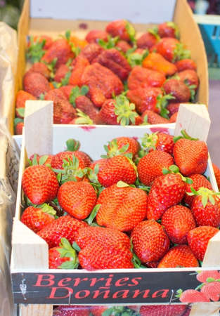 palma: PALMA DE MALLORCA SPAIN  APRIL 21 2015: Strawberries in market on display in Santa Catalina market on April 21 2015 in Palma de Mallorca Balearic islands Spain.