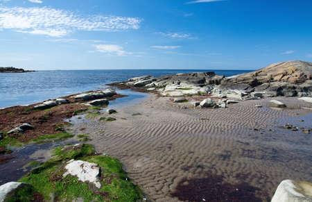 beach landscape: Rocky sandy beach landscape and blue sky in Falkenberg Sweden.