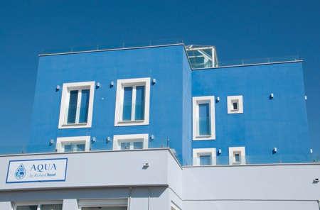 spanish homes: PALMA MALLORCA SPAIN  FEBRUARY 16 2013: Modern sky blue building hosting the restaurant Aqua by Richard Nussel near Portixol on February 16 2013 in Portixol Mallorca Spain.