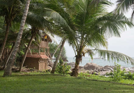rocky point: TANGALLE SRI LANKA  DECEMBER 19 2015: Sea food restaurant Think Club built by wooden sticks and buffalo dung on the Rocky Point beach on December 19 2015 in Tangalle Sri Lanka. Editoriali