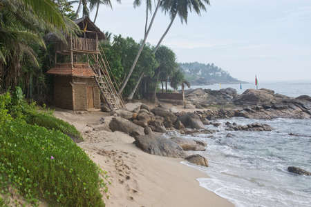 rocky point: TANGALLE SRI LANKA  DECEMBER 17 2015: Sea food restaurant Think Club built by wooden sticks and buffalo dung on the Rocky Point beach on December 17 2015 in Tangalle Sri Lanka.