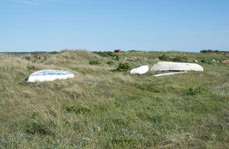 sweden resting: Green heath with resting boats near Falkenberg, Sweden.