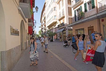 carrer: PALMA DE MALLORCA, BALEARIC ISLANDS, SPAIN - JULY 22, 2015: Pedestrian shopping street Carrer San Miguel Calle Sant Miguel on July 22, 2015 in Palma de Mallorca, Balearic islands, Spain in July.
