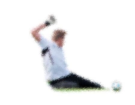kick out: Goalkeeper in action. Abstract digital illustration of soccer football players, teenagers around 15 years old, in action isolated on white Stock Photo
