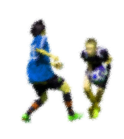 kick out: Goalkeeper catch. Abstract digital illustration of soccer football players, teenagers around 15 years old, in action isolated on white