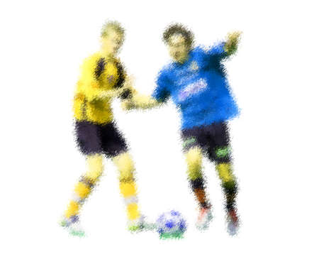 kick out: Blue and yellow players. Abstract digital illustration of soccer football players, teenagers around 15 years old, in action isolated on white