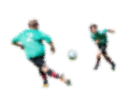 kick out: Green movement. Abstract digital illustration of soccer football players, teenagers around 15 years old, in action isolated on white