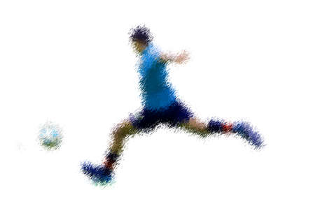 kick out: Wide step player in action. Abstract digital illustration of soccer football players, teenagers around 15 years old, in action isolated on white Stock Photo