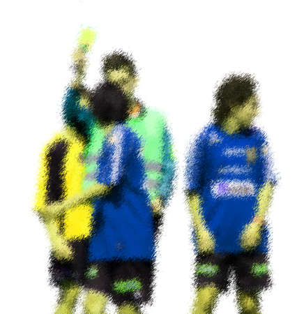 kick out: Yellow card and players. Abstract digital illustration of soccer football players, teenagers around 15 years old, in action isolated on white