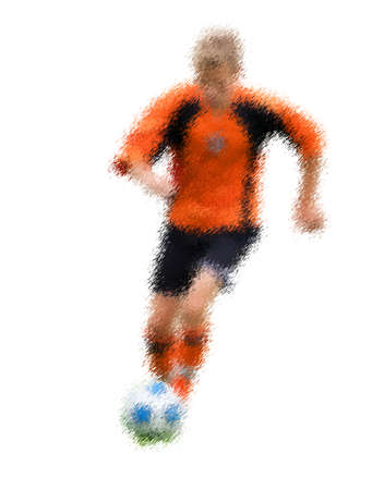 kick out: Orange forward. Abstract digital illustration of soccer football players, teenagers around 15 years old, in action isolated on white Stock Photo