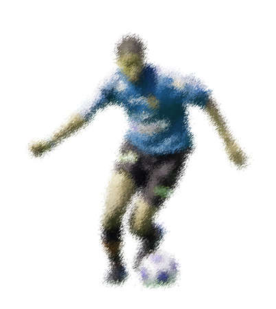 kick out: Blue forward. Abstract digital illustration of soccer football players, teenagers around 15 years old, in action isolated on white Stock Photo