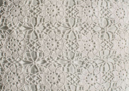 artisanry: White crochet pattern with flower circles background